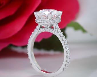 Toujours un coussin coupe réglage de bague de fiançailles diamant Moissanite - Liz