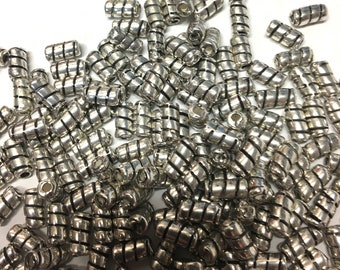 Silver Tube Beads - 6x3 mm - Cane Swirl - Packet of 200+ - 8 ozs