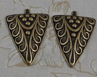 LuxeOrnaments Oxidized Brass Filigree Pendant (Qty 2) 40x30mm S-8557-B