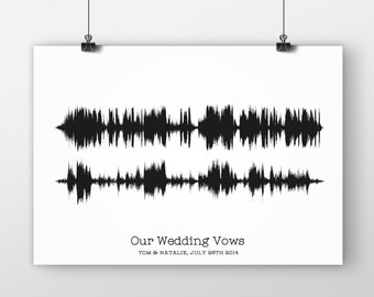 Soundwave Print Wedding Vows, Giclee Print, First Paper Anniversary Gift For Him/Her, First Dance Song, Paper Anniversary, Husband or Wife