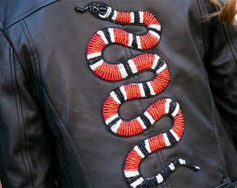 Red Beaded Snake Patch-Serpent Applique Sew-On Patch