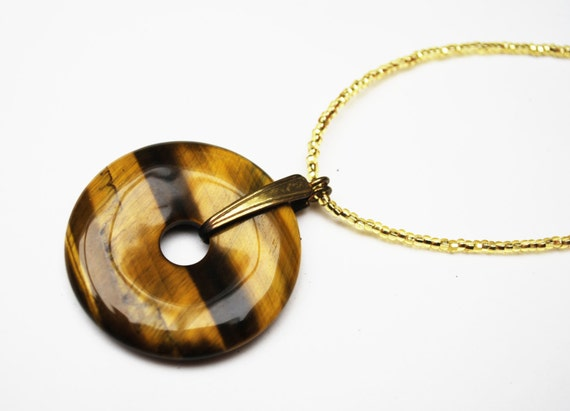 Tiger eye Pendant necklace round gemstone Brown yellow Disc bead