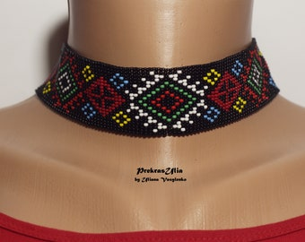 Ethnic Ukrainian jewelry choker necklace beaded choker multicolour necklace  necklace Ukrainian gerdan Ukrainian gift for ukrainian ornament