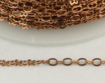RAW Copper Chain bulk Chain, 32 ft spool of SOLDERED Chain Necklace Bracelet Wholesale Tiny Figure 8 Chain - 3.0x1.9mm links