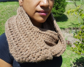 Alpaca Scarf, Warm, Hand Knitted Light Brown 100% Natural, Made in Ecuador
