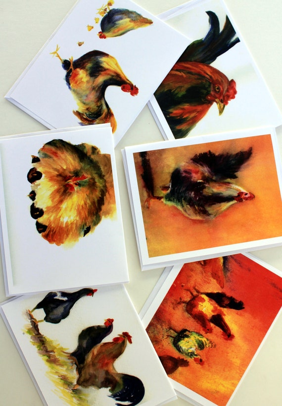 Chickens - blank note cards - greeting cards - roosters - chicks - watercolors - Columbia Gorge artist - gorge artist - Bonnie White