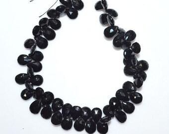 """1 Strand Natural Black Spinel Faceted Pear Shape Beads - Black Spinel Briolette , 8x6 - 8.5x6.5 mm , 7.5"""" , BL1621"""