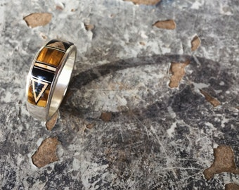 Men's Ring Size 11.75 Sterling Silver Tiger Eye Jewelry, Native American Ring, Men's Band