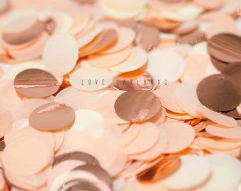 Peach Ivory Rose Gold Round Confetti, Peach Rose Gold Circle Confetti, Wedding Confetti, Bridal Shower, Rose Gold Confetti, Balloon Confetti