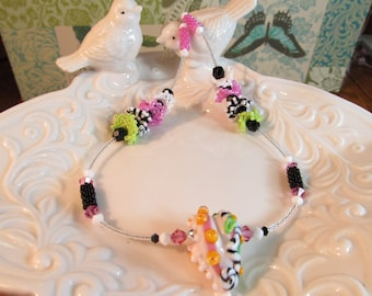 Necklace heart pink multi glass art lampwork Heart Pod bead  with peyote and crystals