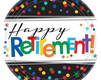 8 Ct Sturdy 10 Inch disposable Colorful Celebration Happy Retirement Party Paper Plates - Luncheon -  sc 1 st  Etsy & Retirement plate   Etsy