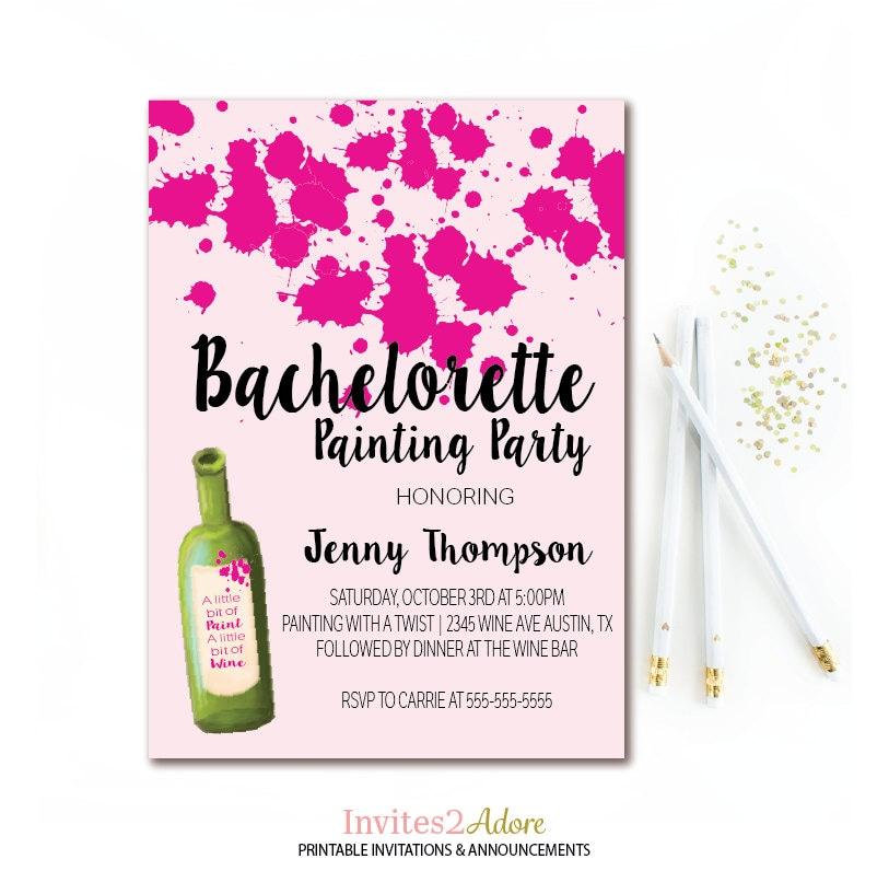 Wine & Paint Party Invitation Bachelorette Painting Party
