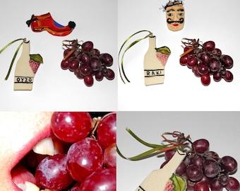 3 Pcs Fridge Magnets. Ouzo, Wine or Raki Handmade Ceramic Bottle Tile 8.4*4.5cm Decoration Ornament. Fridge Magnet. Greek Souvenir