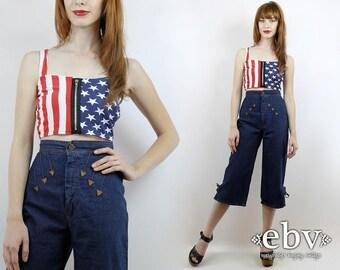 Vintage 70s High Waisted Denim Gauchos XS Dark Denim Gauchos 70s Pedal Pushers Cropped Jeans High Waisted Jeans 70s Jeans High Waist Jeans