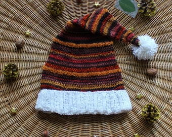 Cap of Noel Brown to crochet/knitting (Brown Christmas woolly hat made with crochet and knit)