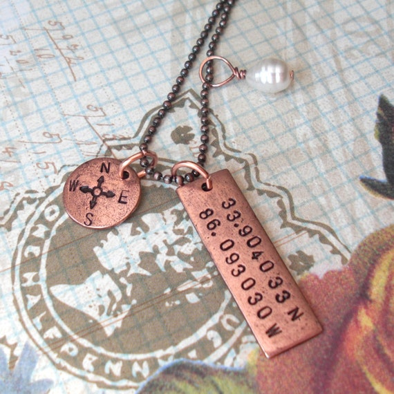 Gps Coordinates Necklace: GPS Coordinates Necklace With Compass Point And Pearl . Hand