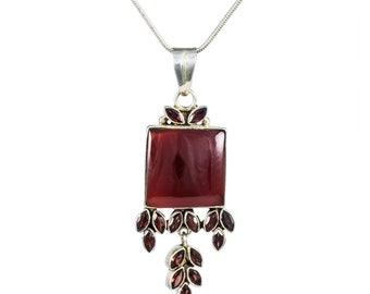 Bohemian Style Carnelian and Garnet Drop Pendant and Chain