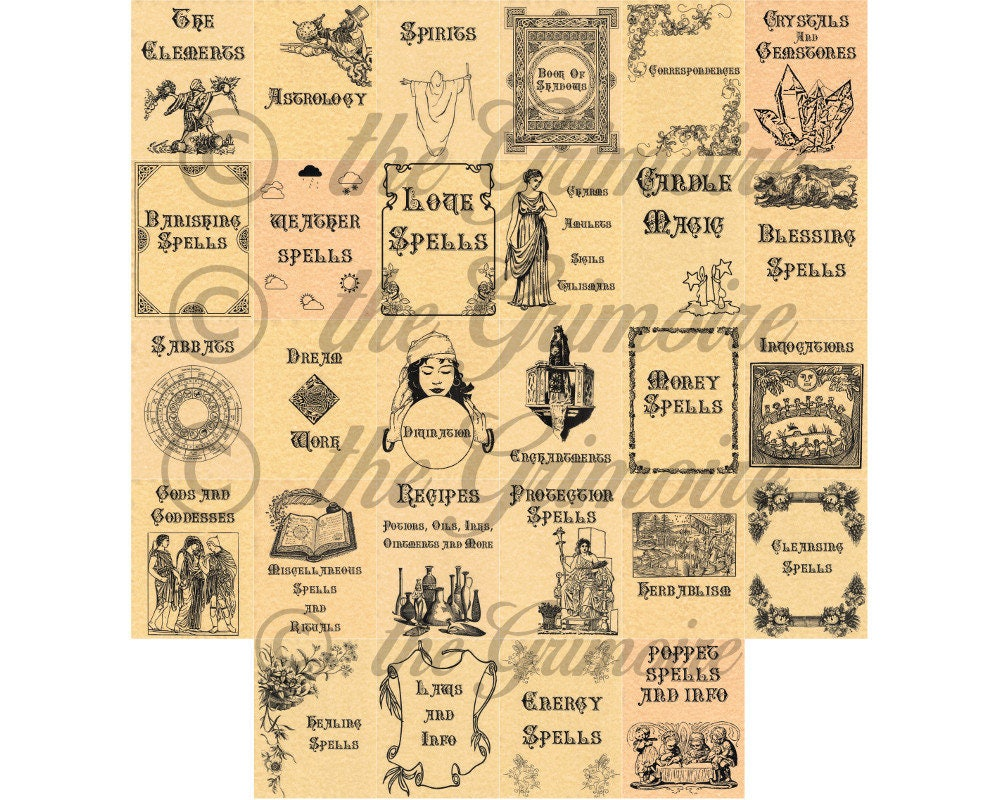 28 Divider Pages for Book of Shadows Wicca Charmed Spell