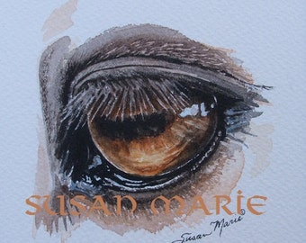 Horse eye Original Watercolor painting by Susan Marie