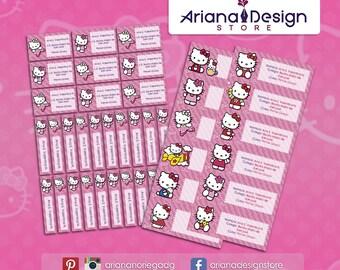 Hello Kitty Labels Etsy - Hello kitty custom vinyl stickers