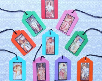 YOUR CHOICE of Mucha or Paris Card stock Gift TAGS w/ ties- Paris gift tags Paris French Narry art Alphonse Mucha prints dress form birdcage