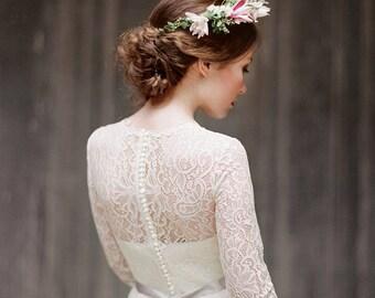 "Long sleeve lace wedding dress ""Rufina"", bohemian bridal gown, rustic wedding dress, modest dress, corset wedding dress, boho, Milamira"