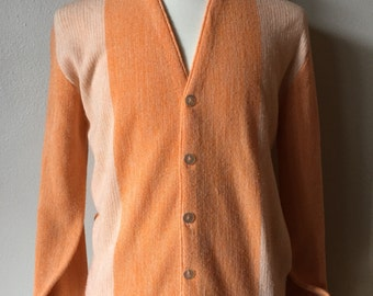 Vintage 1950s MC GREGOR Cardigan 50s Striped McGregor Sportswear Sweaters Hues of Orange Cardigan Smoking Hot Grandpa Cardigans