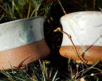Pair of celadon glaze stoneware coffee or tea bowls