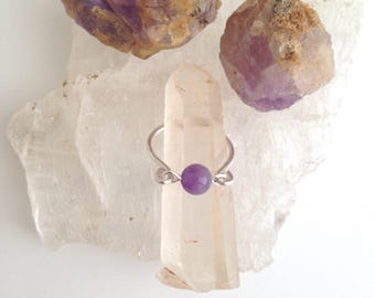 Amethyst Sphere Sterling Silver Ring - Hammered Copper and Gemstone