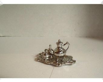 Miniature Dollhouse Items/ Silver tone Tea Set/ Mini/Craft Supplies*