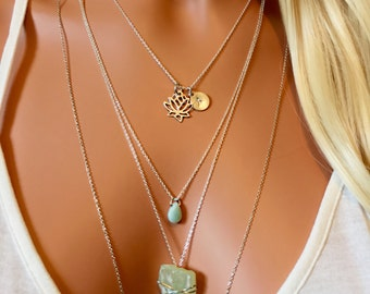 Lotus Necklace - Initial Necklace - Personalised Disc Necklace - Yoga Necklace - Buddhist Necklace