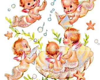 Vintage Mermaid Clipart - Digital Download Mermaid Babies Vintage - Mermaid Baby Clip Art - Baby Shower Mermaid - Image Collage JPG PNG