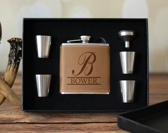 Groomsmen Flask Set, Monogrammed Groomsman Gift Box, Personalized Gift Box, Laser Engraved Gift, Will You Be My Groomsman, Best Man Gift