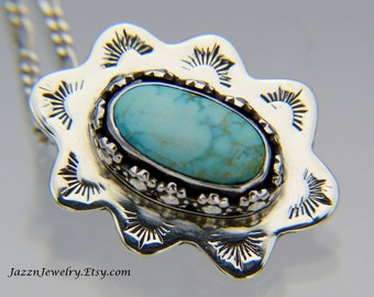Southwestern Turquoise Pendant - Stamped Pendant - Natural Turquoise Pendant - Handmade in the USA by Me - FREE Shipping