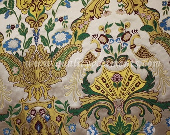Church Liturgical Metallic Vestment Brocade , Fair birds, Peacock,  variety of colors