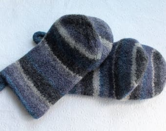 Knit Felted Wool Oven Mitt Set in Blues Grays Cream, Blue Boiled Wool Oven Mitts, Gray Wool Oven Glove Set, Hostess Gifts, Chef Kitchen Gift
