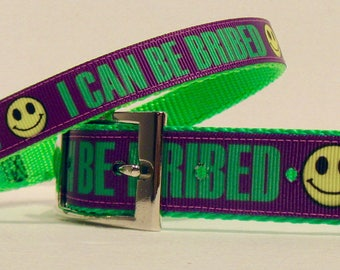 I CAN BE BRIBED - Pet Collars for Cats and Dogs - Matching Leash - Key Fob ... Funny Dog Collar ...