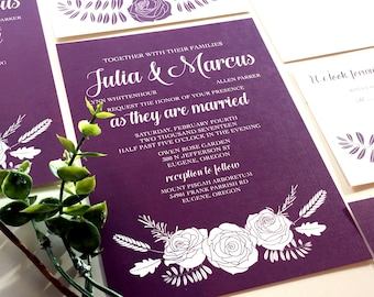 Floral Wedding Invitation with Greenery, Wine Red, Marsala Invitation, Roses, Leaves, Amethyst Invite, Violet Purple Wedding Invitation 2018