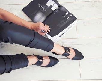 Black ballerina shoes, Vicky, handmade leather flats