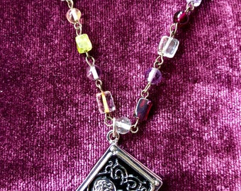 Silver Heart Book locket necklace