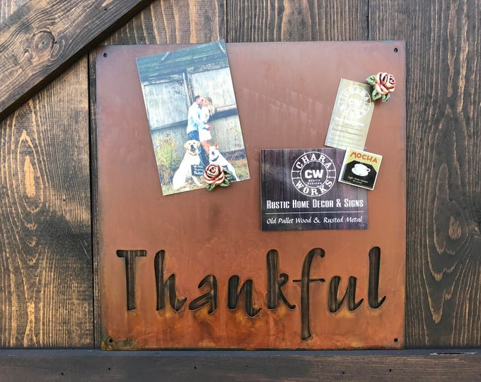 Thankful Magnet Board, Magnetic Boards, Bulletin boards, Office Message Board, Rusted Metal Sign, Thankful Sign, Organizational Board