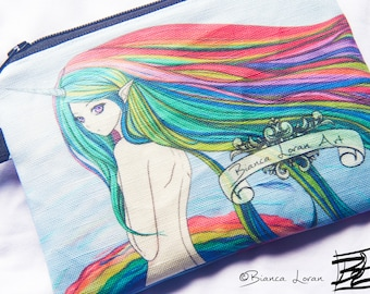 Rainbow Bath Zippered Pouch Large - unicorn girl anime artwork - Clutch bag Purse Wristlet - Cosmetic pencil school - Bianca Loran Art