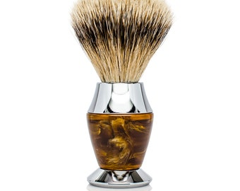 Silvertip Badger Bristle Faux Horn Handle Shaving Brush - Personalized - Brush Stand Included - gift for men for christmas or fathers day