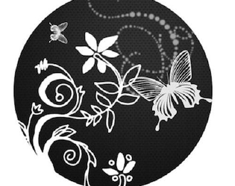 30mm, white flowers and Butterfly