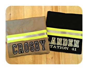 Firefighter gift, turnout gear, bunker gear style pillowcase, Embroidered, Personalized. Firefighter pillow, Fire Fighter gift, engine house