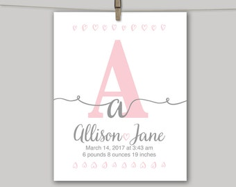 Baby girl nursery wall art | gray pink nursery decor | new baby girl gifts | baby girl nursery decor personalized | Unframed print or canvas