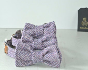 Dog Bow Tie, Purple Harris Tweed Bow Tie, Detachable Bow tie,purple Bow Tie, Plaid Bow tie