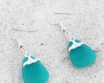 Whale Tail Earrings, Beach glass earrings, Blue sea glass earrings, Beach Jewelry, Nautical Earrings,  Dangle Beach Glass Earrings