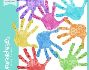Handprints Digital Clipart, Commercial Use Handprints Clipart, Kids Clipart, Preschool Clipart