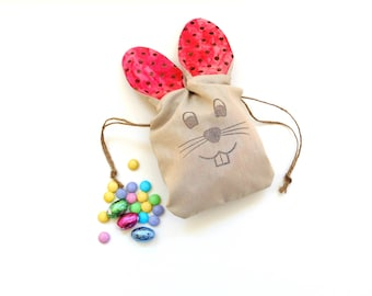 Easter treat bags, pink polka dots, goodie bag, Easter bag with ears, drawstring pouch, Easter bunny bag, long ear bunny, candy bag